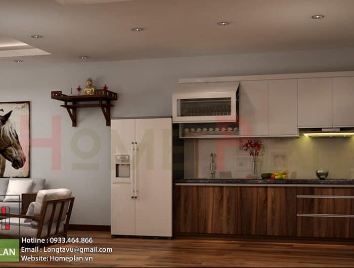 Tủ bếp được làm bằng gỗ công nghiệp. Với cách phối màu phù hợp khiến căn phòng ấm áp hơn rất nhiều.