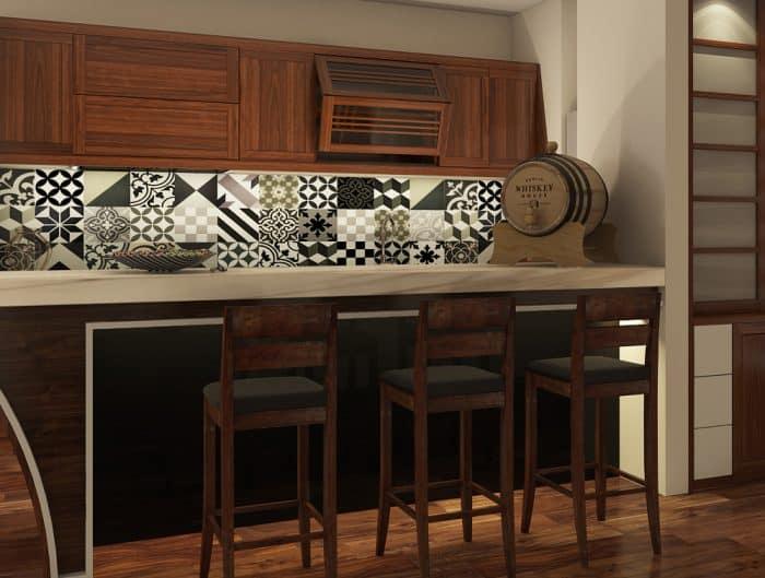 Tủ bếp gỗ gụ được thiết kế và thi công theo phong cách Á Đông. Phù hợp với sofa của Gỗ Việt và Grand Bois