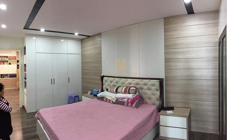 giường ngủ gỗ tự nhiên bọc nỉ, hiện đại